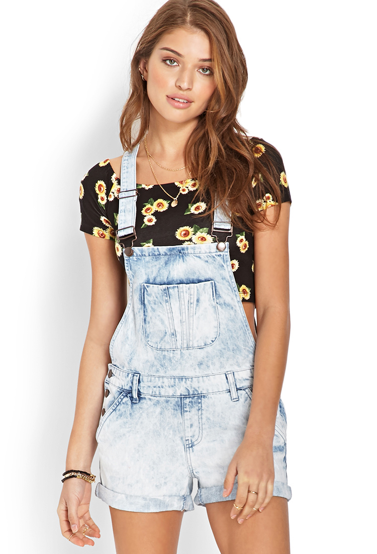 forever 21 mineral wash overall shorts in blue light