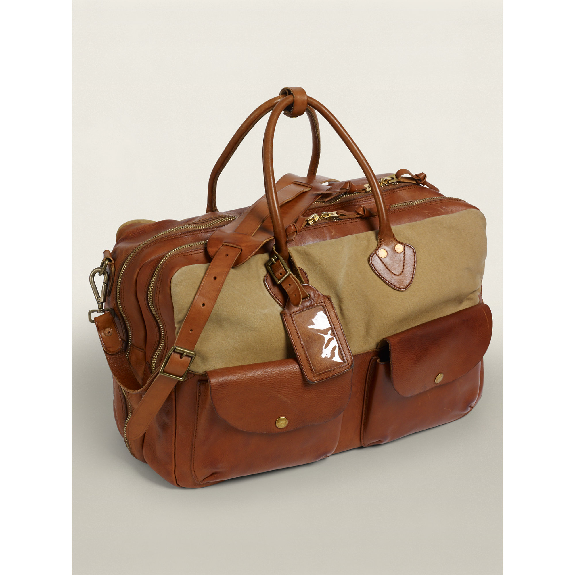 Rrl Leather-And-Canvas Cargo Bag in Brown for Men (Medium Brown ...