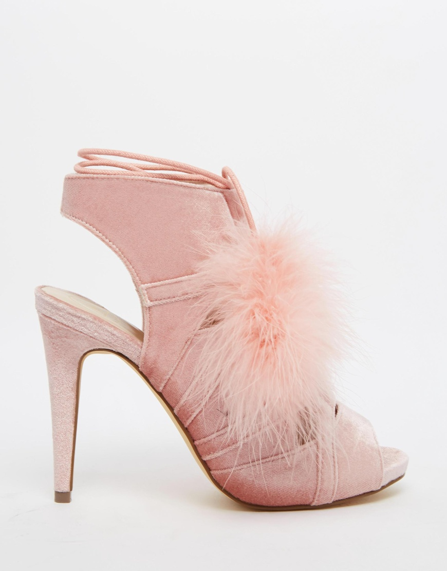 5e21cd89d426 Lyst - Missguided Lace Up Pom Pom Heels in Pink