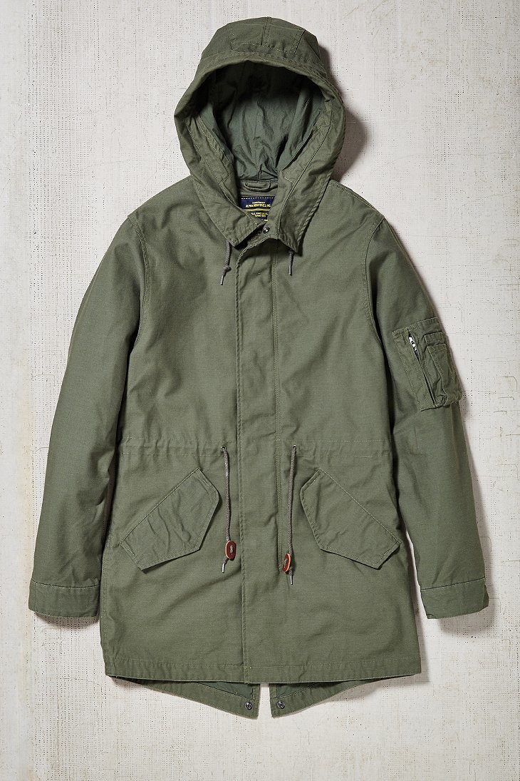 Alpha industries X Uo Long Fishtail Parka Jacket in Green for Men ...