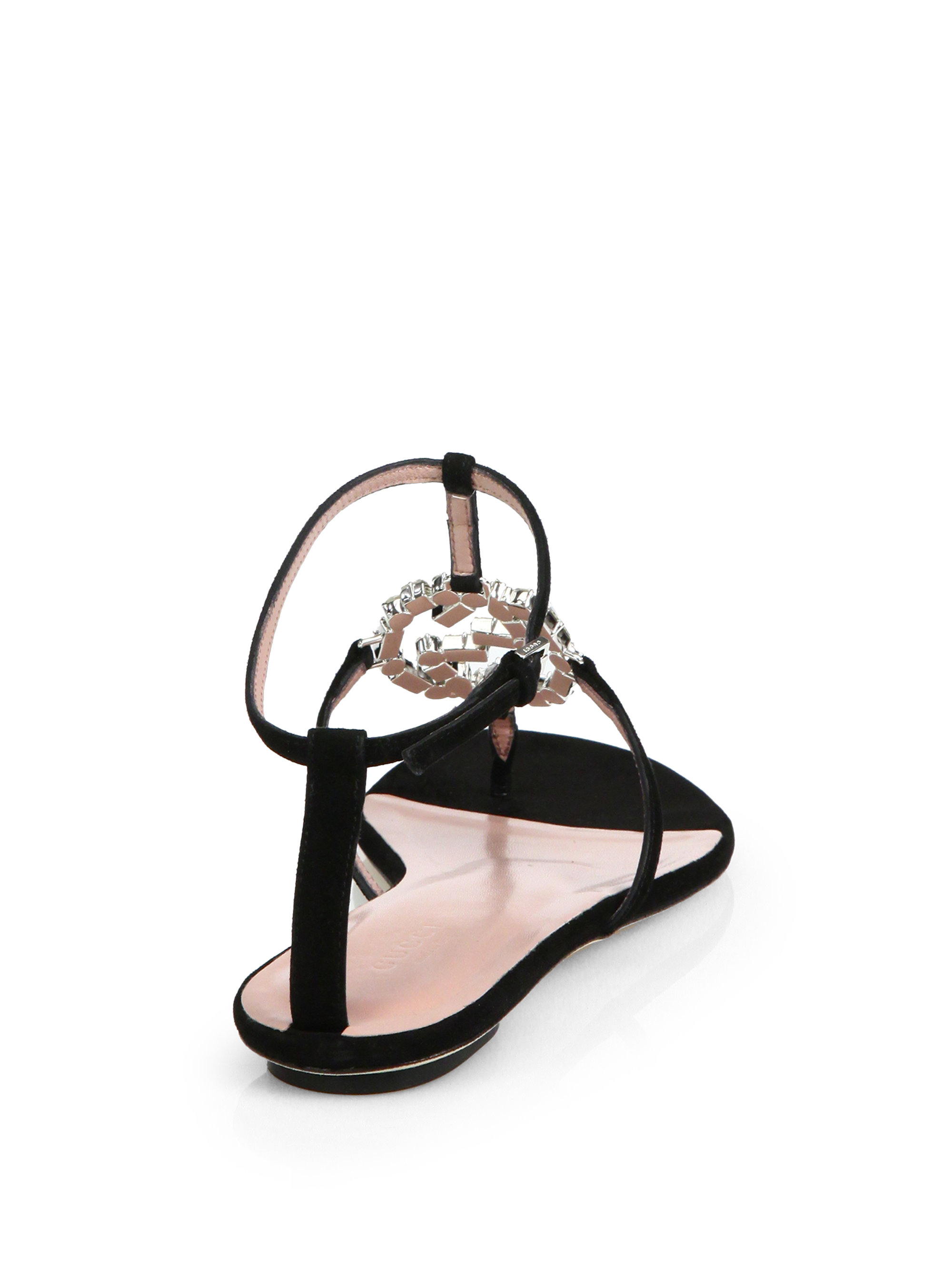8239475ef11f Lyst - Gucci GG Crystal Leather and Suede Sandals in Black
