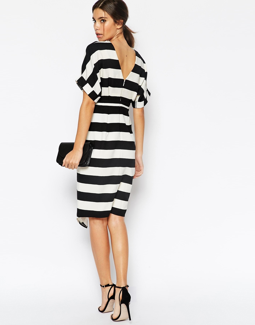 503b9f2649 ASOS Stripe Wiggle Dress With Split Front And Wrap Back - Stripe in ...