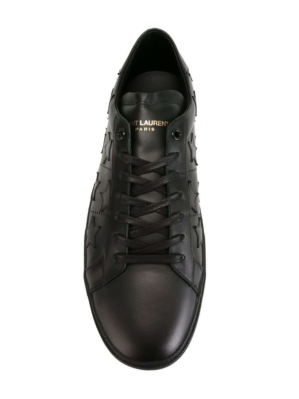 Saint laurent Leather Sneakers in Black | Lyst