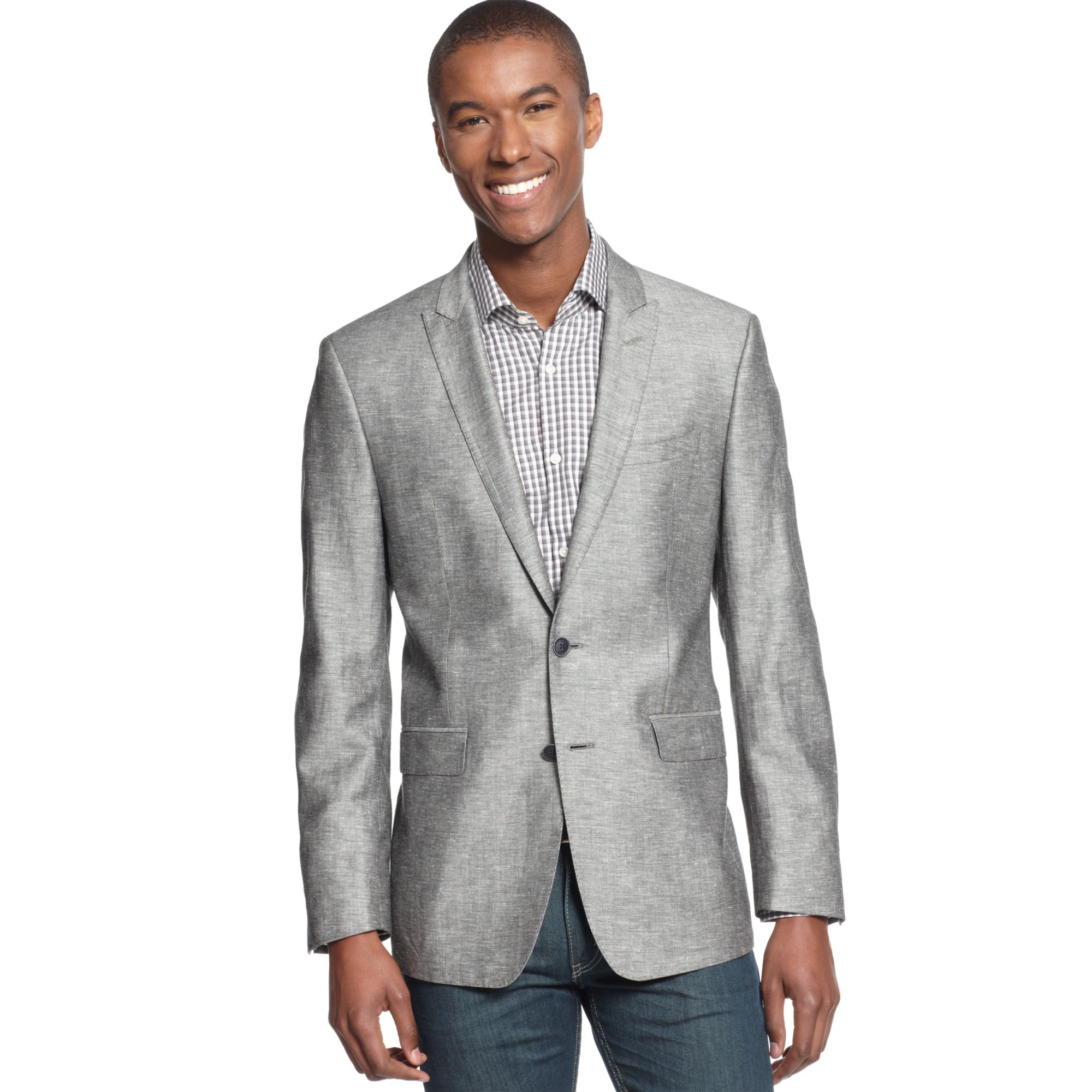 calvin klein sport coat linenblend slim fit in gray for men black. Black Bedroom Furniture Sets. Home Design Ideas