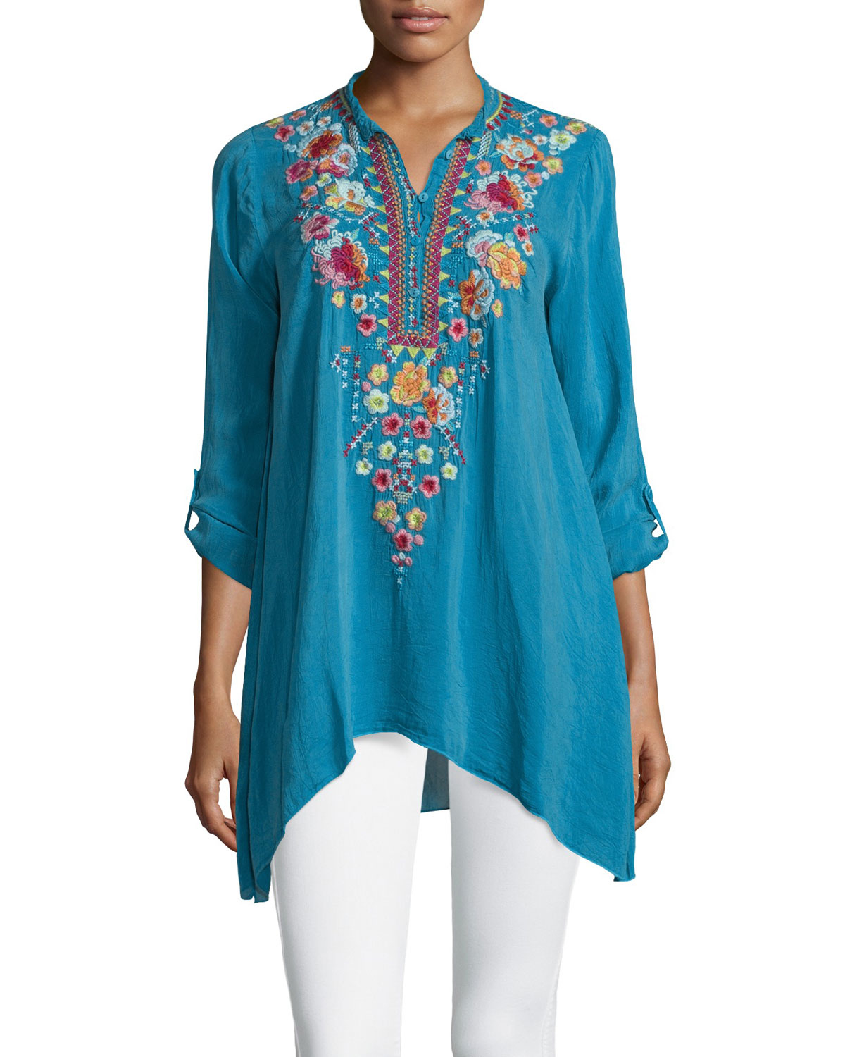 Lyst Johnny Was Sable Long Sleeve Embroidered Tunic In Blue