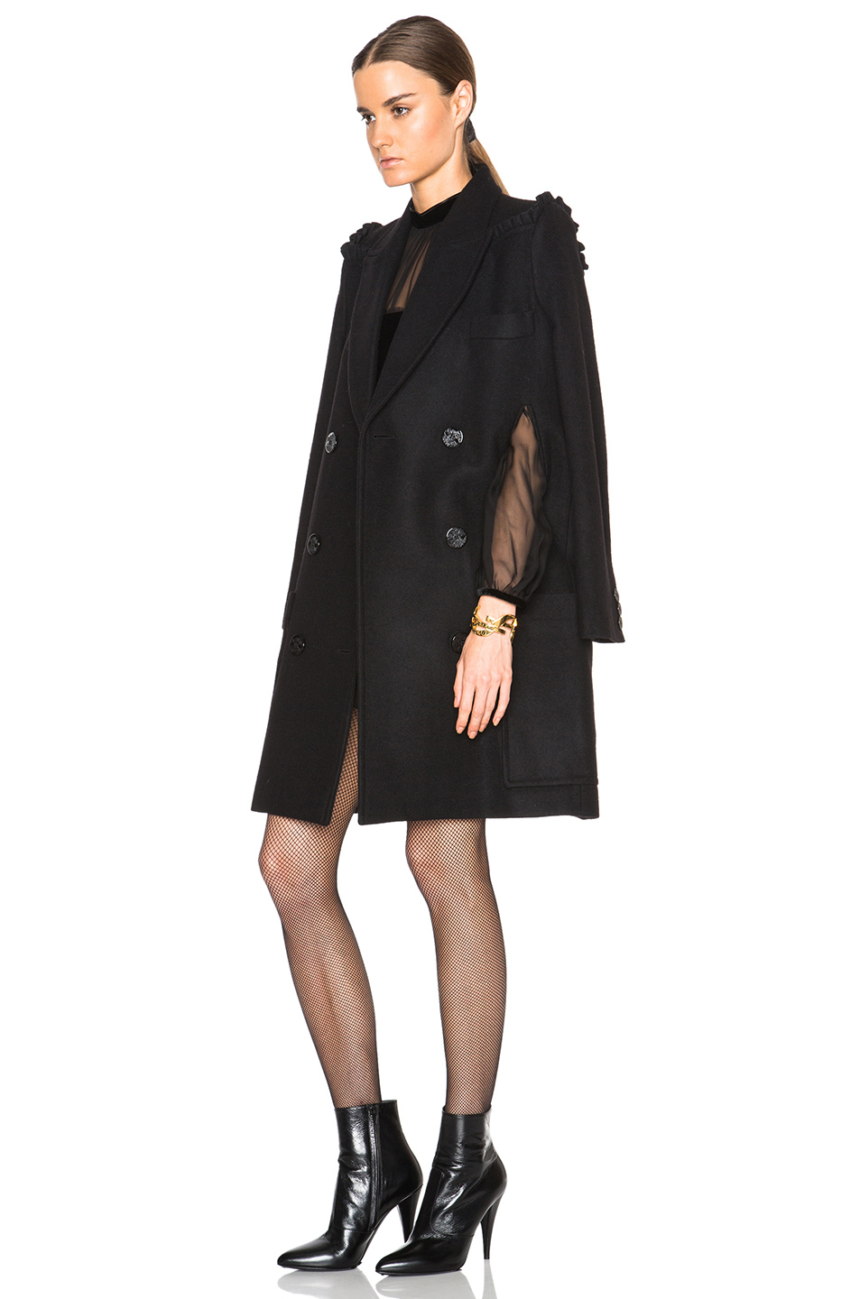 Preen by thornton bregazzi Sasha Wool Cape Coat in Black | Lyst
