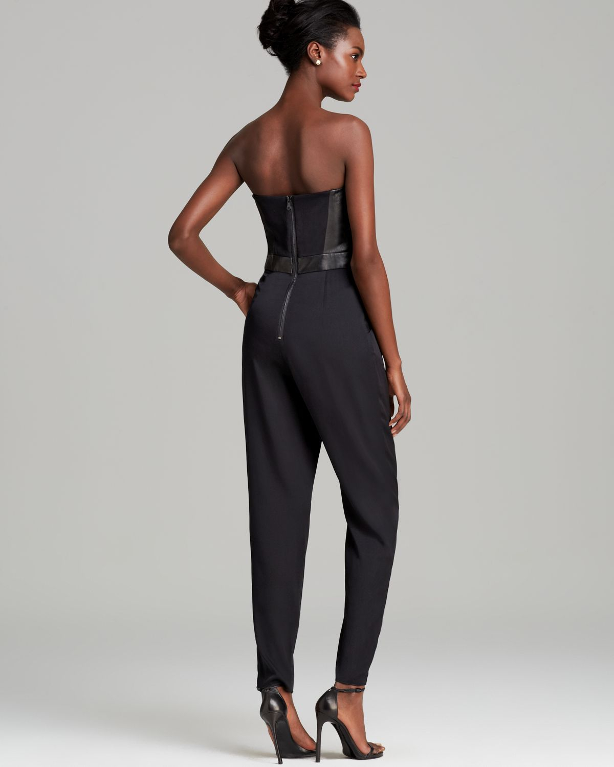 a730124328f6 MILLY - Black Jumpsuit Bustier - Lyst