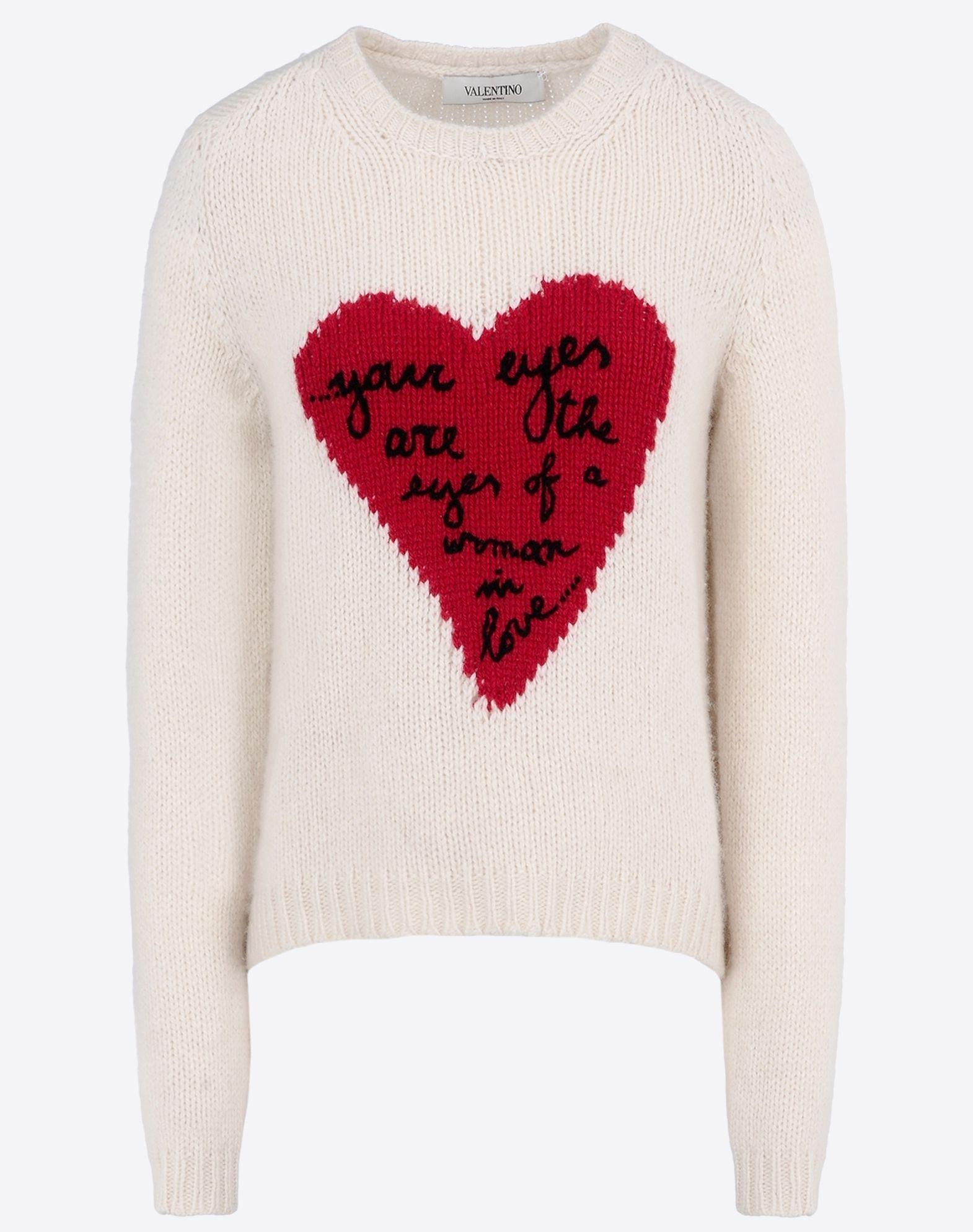 Valentino Heart Intarsia Cashmere Sweater In White Lyst