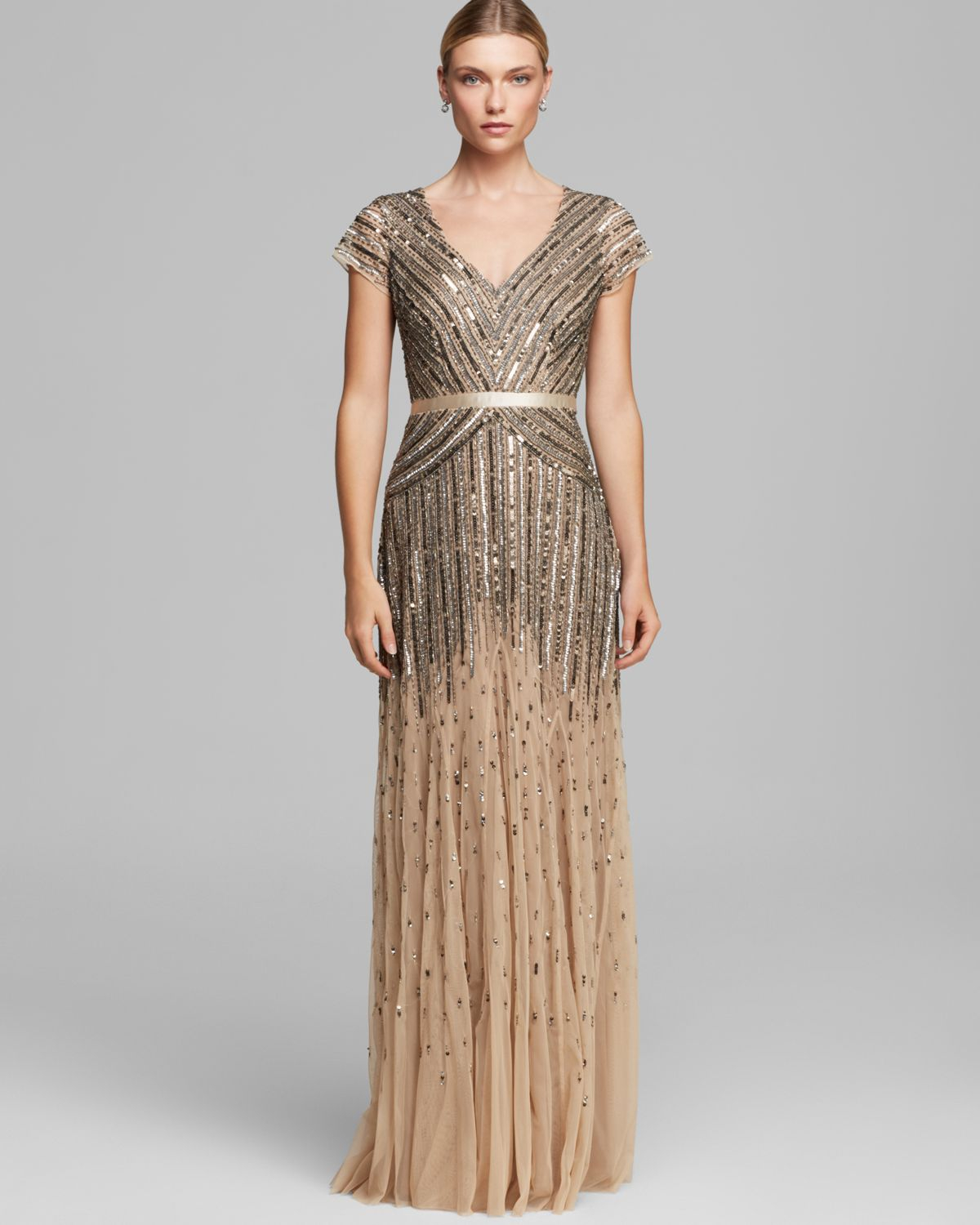 Adrianna Papell Dress V Neck Cap Sleeve Beaded In Brown