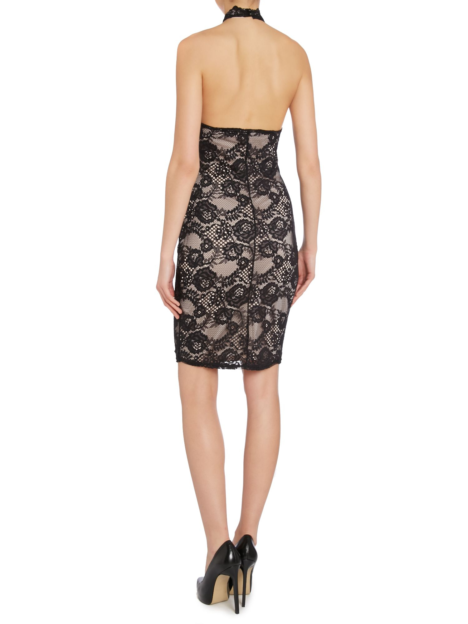 Lipsy Lace Halter Bodycon Dress In Black Lyst