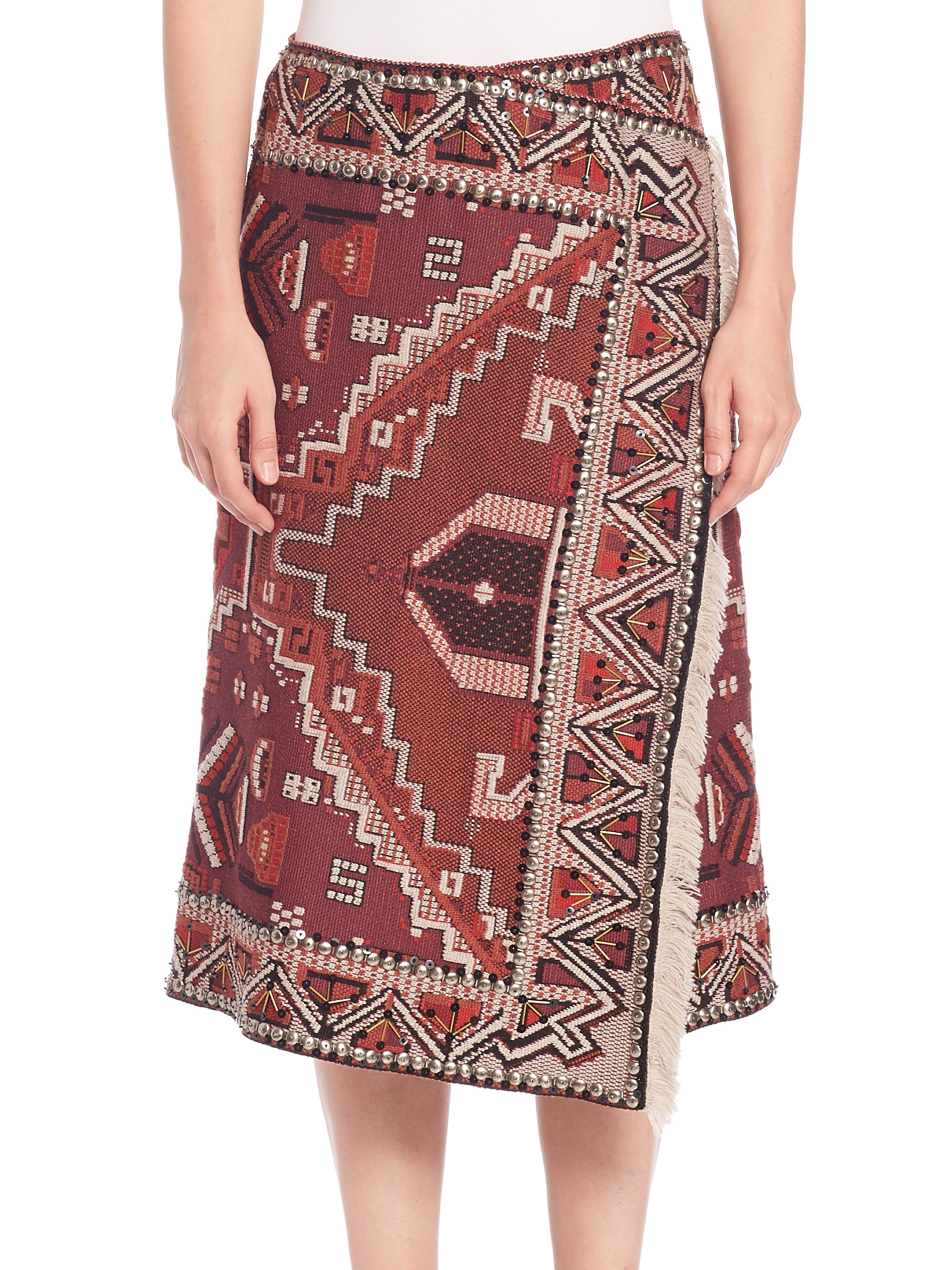 tory burch embellished tapestry jacquard wrap skirt in red