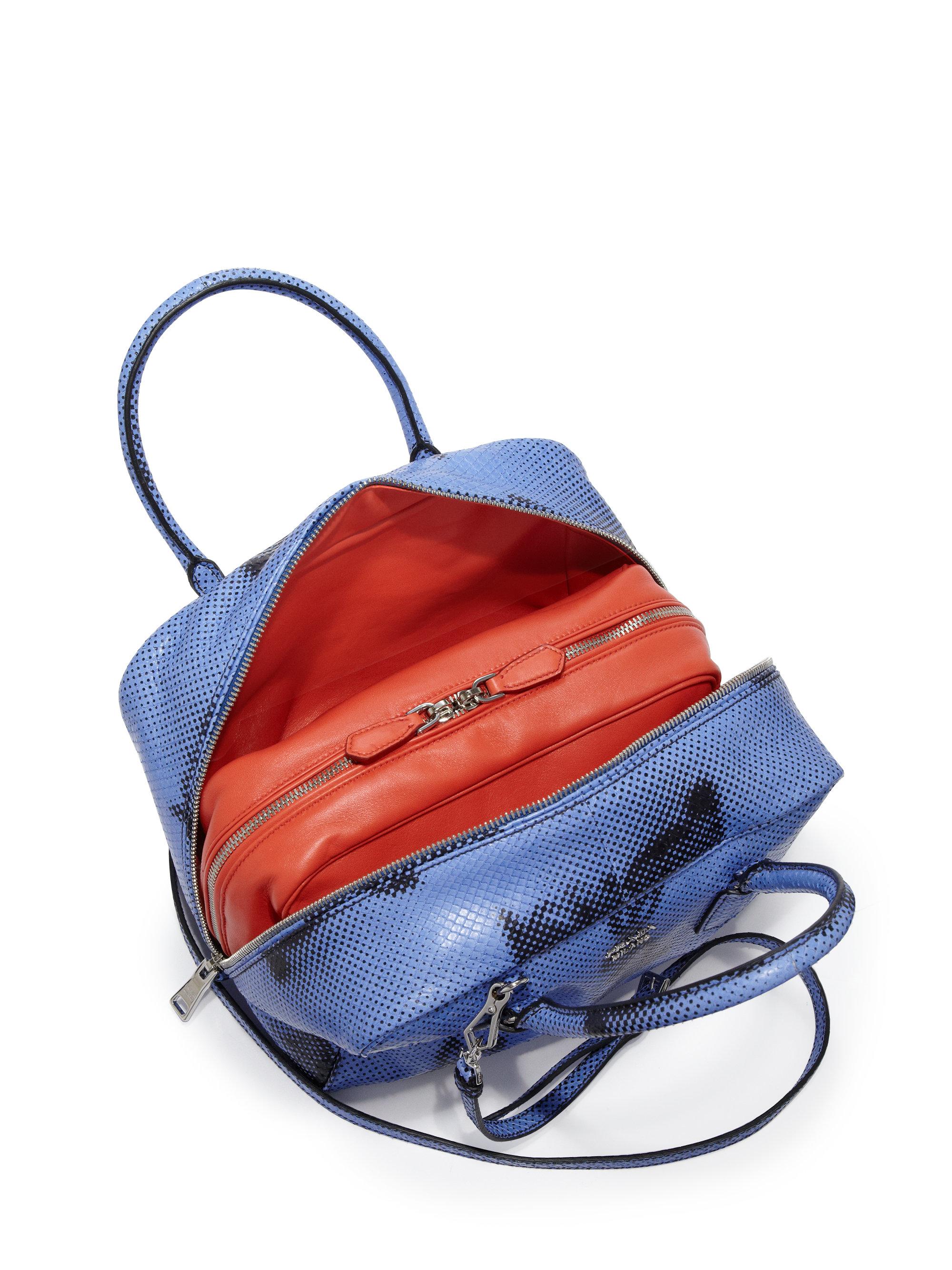 authentic prada handbags online - Prada Rabbit-print Python Inside Bag in Blue | Lyst