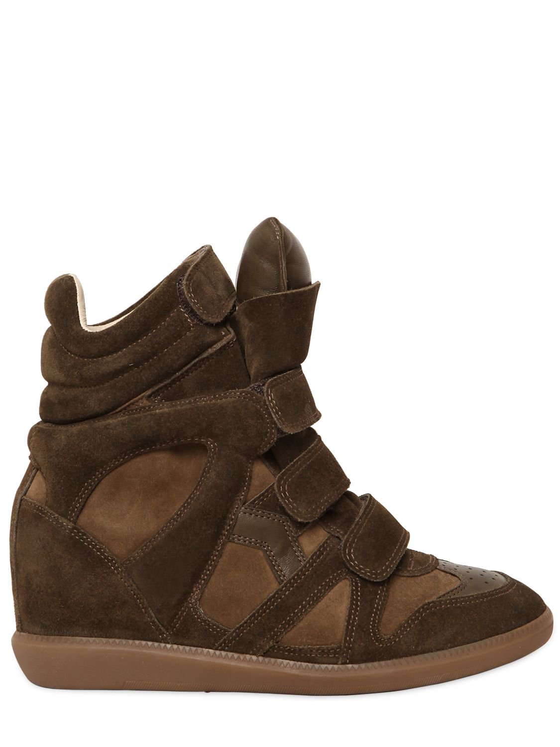 isabel marant toile bekett leather and suede concealed wedge sneakers in natural lyst. Black Bedroom Furniture Sets. Home Design Ideas