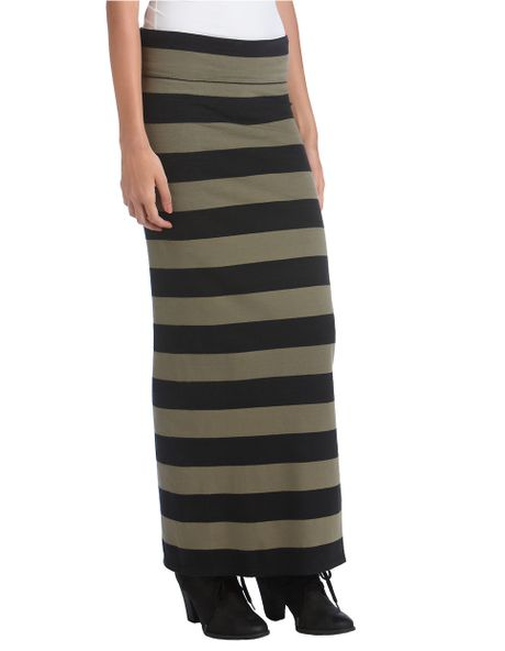 free striped maxi skirt in green army green lyst