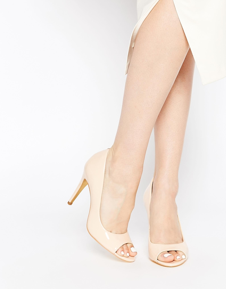 d73f7c6c612b Lyst - Ted Baker Ilyey Nude Patent Peep Toe Heeled Pumps in Natural