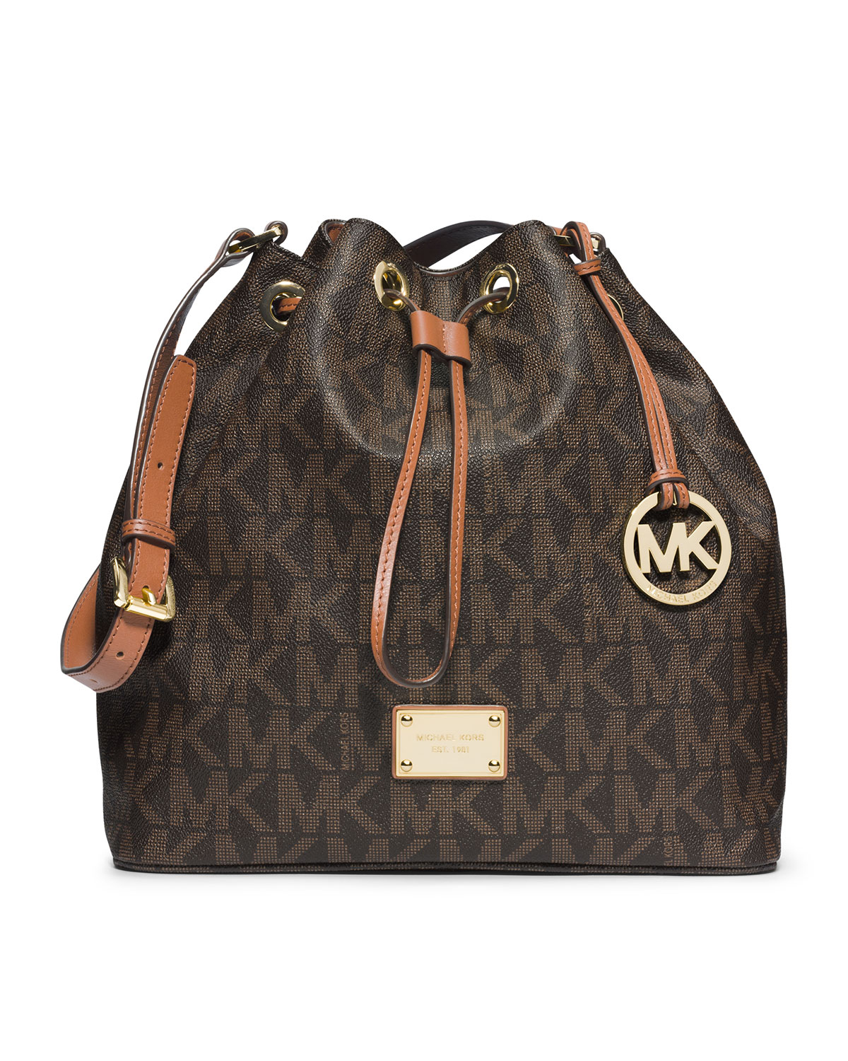 4cd7cda73049 ... australia lyst michael michael kors large jules drawstring shoulder bag  in brown 79d4b 9a2cb