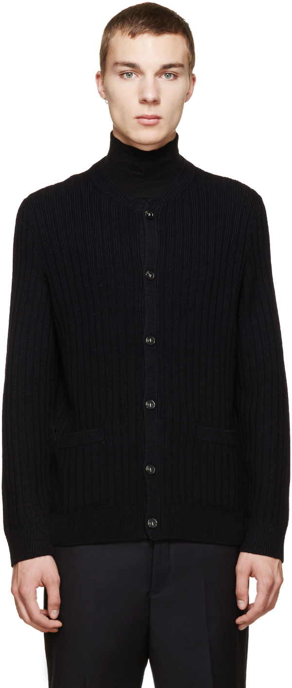 A.p.c. Navy Merino Knit Cardigan in Blue for Men | Lyst