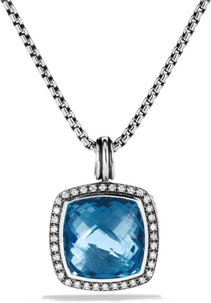 David Yurman Albion Pendant With Hampton Blue Topaz Amp Diamonds In Silver Lyst