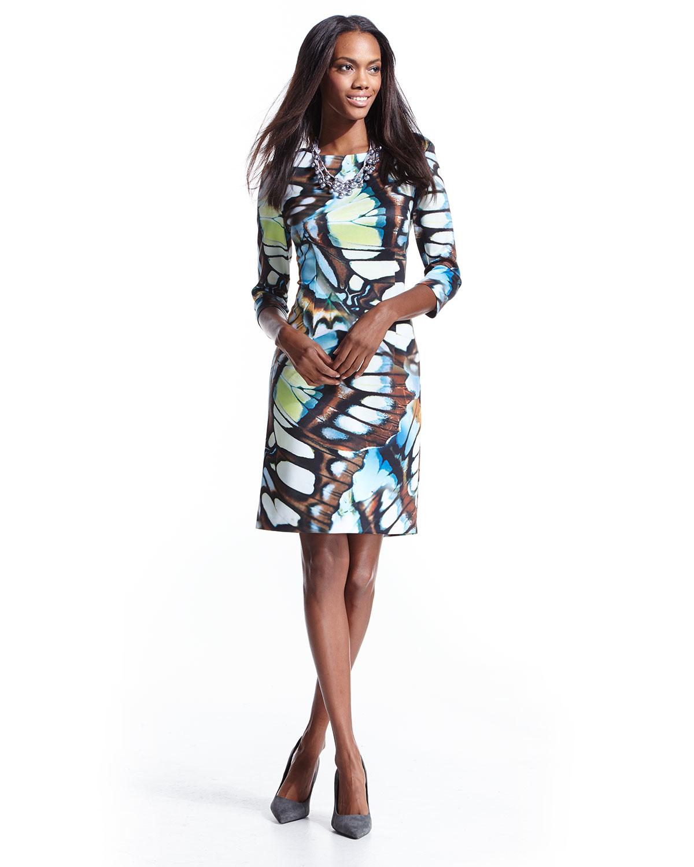 Chetta b Butterfly-print 3/4-sleeve Scuba Dress in Brown | Lyst