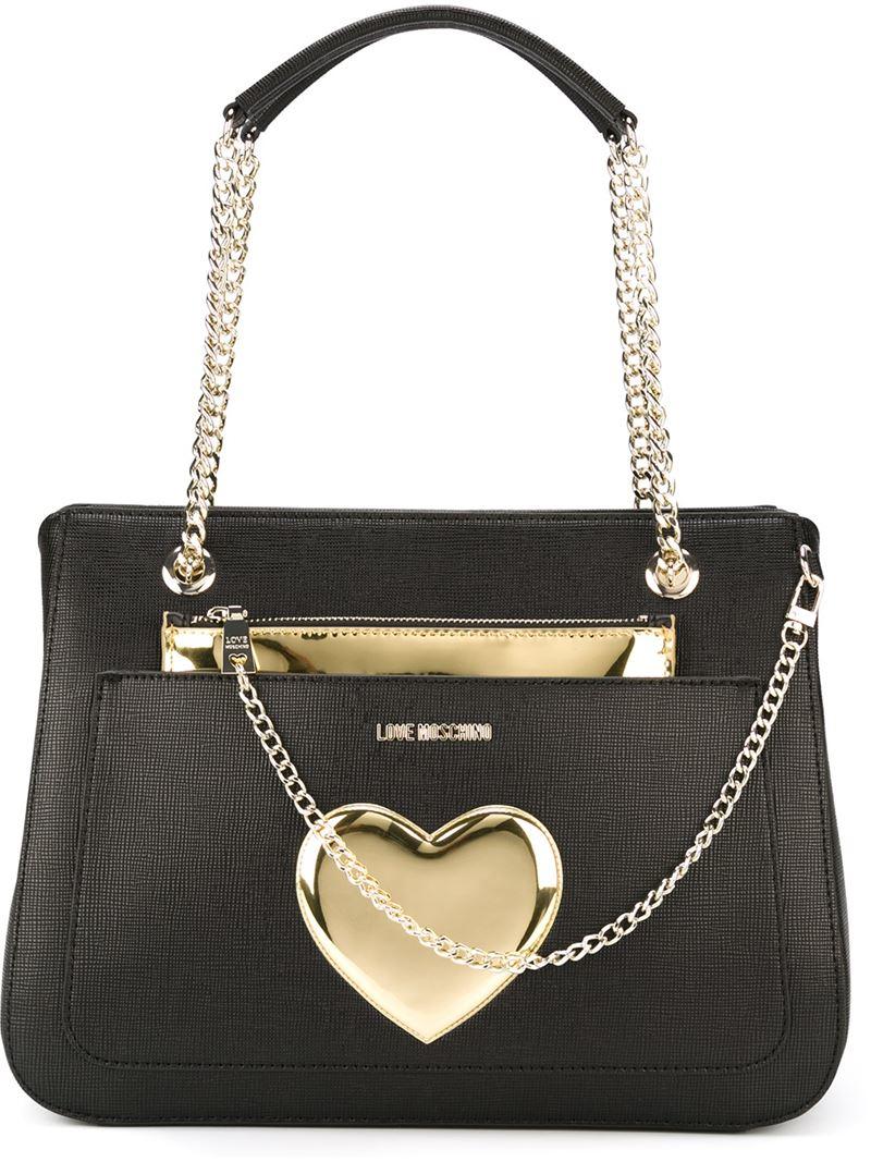 c572e12332bdf Lyst - Love Moschino Heart Detail Shoulder Bag in Metallic