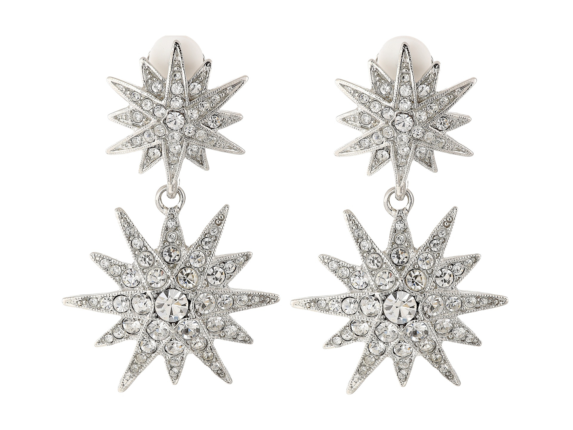 Kenneth Jay Lane Silver Crystal Starburst Clip Earring XeW29mHXW9