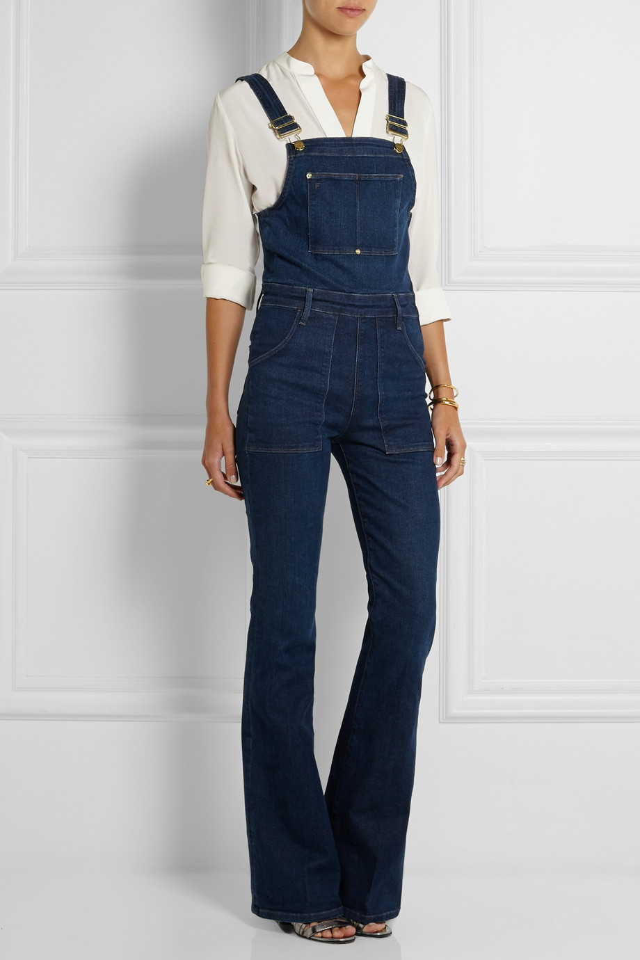 Frame Le High Flared Stretch Denim Overalls In Blue Lyst