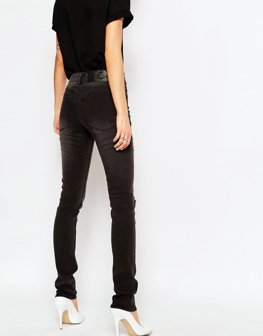 Cheap monday Tight Skinny Jeans With Ripped Knees in Black | Lyst