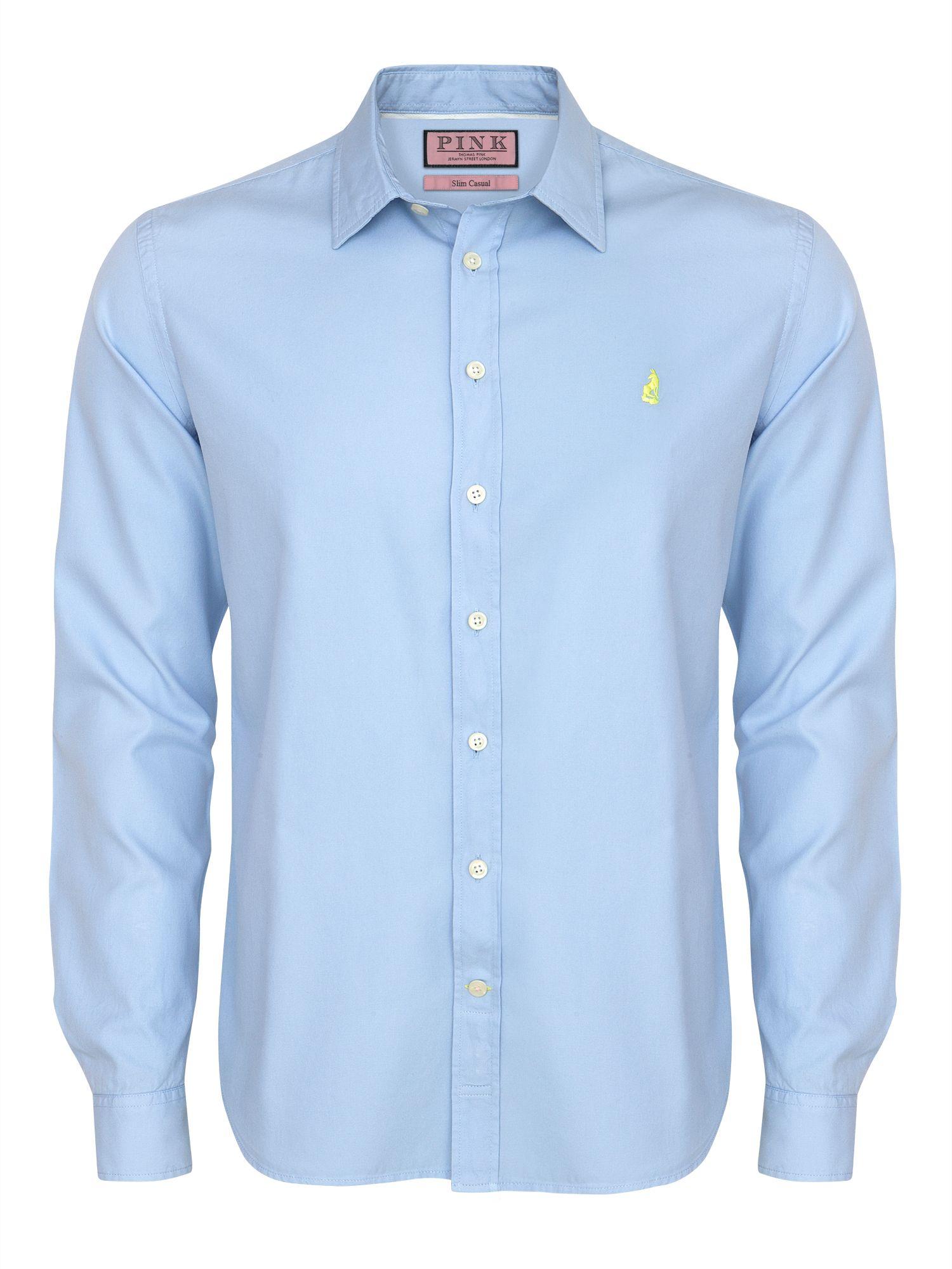 Thomas pink Drake Plain Long Sleeve Shirt in Blue for Men | Lyst