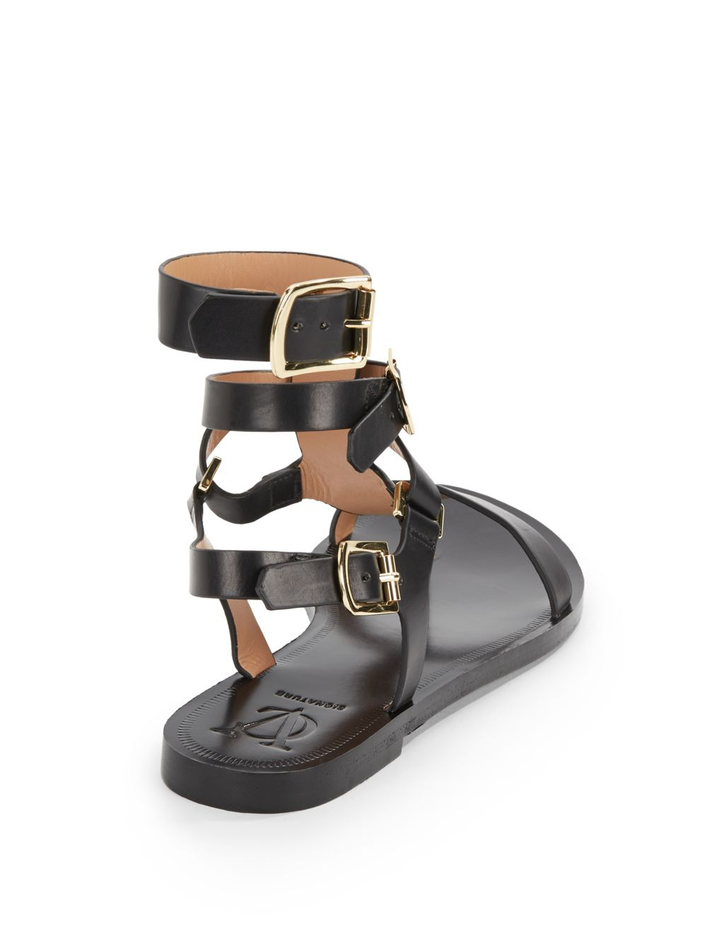 8a1ce8c911c Lyst - Vince Camuto Signature Leather Thong Gladiator Sandals in Black