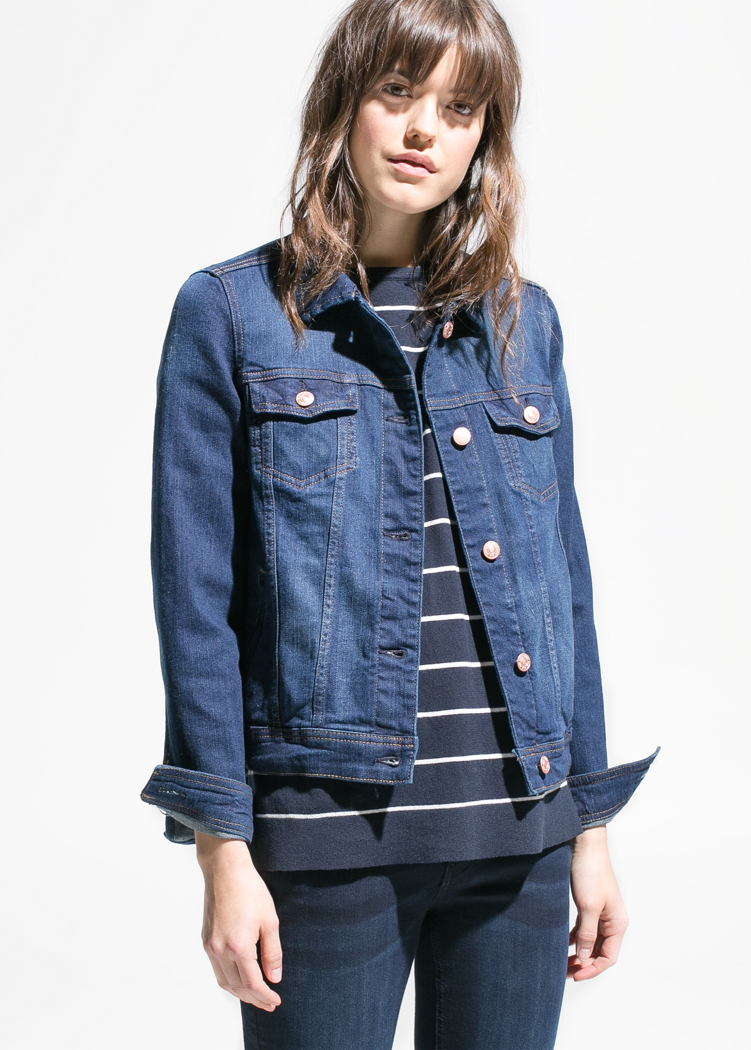 Mango Dark Denim Jacket in Blue | Lyst
