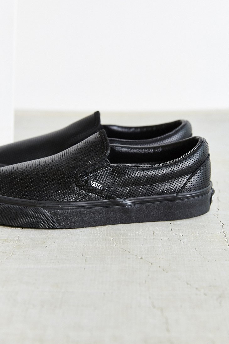 908751acf90 Lyst - Vans Perforated Leather Classic Slip-on Shoe in Black