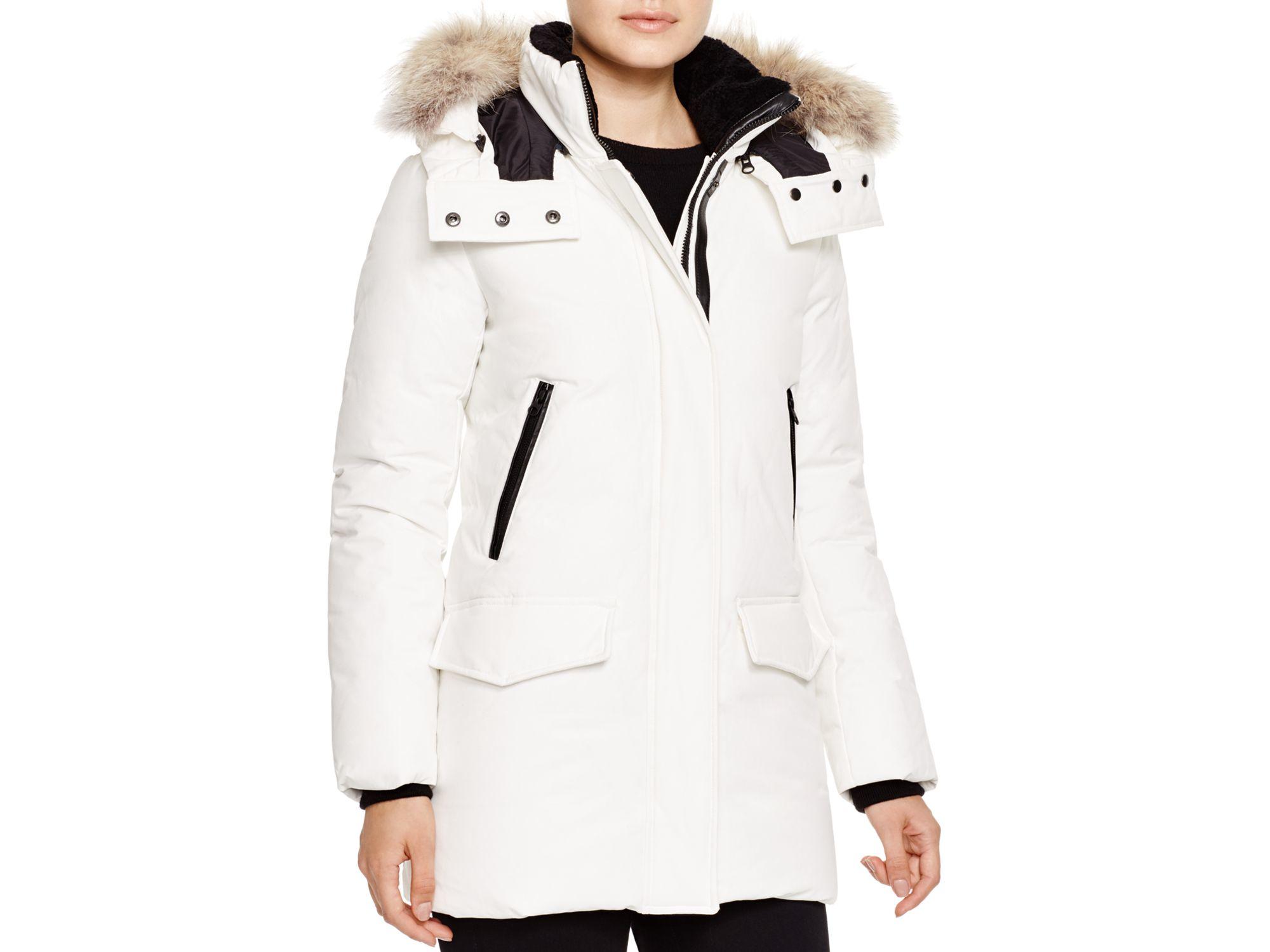 Mackage Juliann Fur Trim Down Parka in White | Lyst