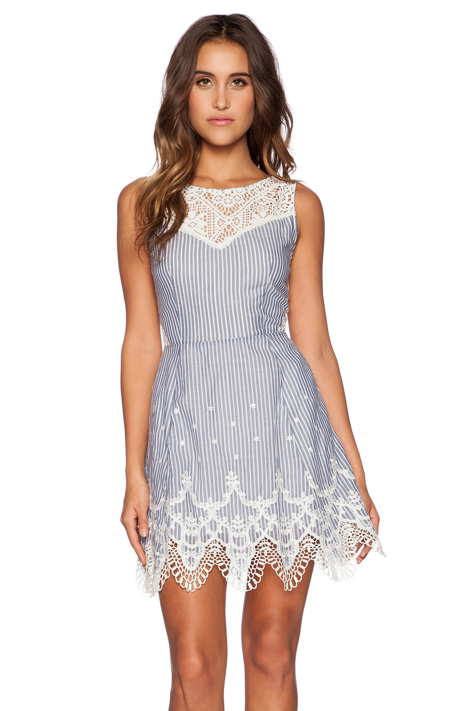 Greylin Mindi Lace-Trim Dress in Blue | Lyst