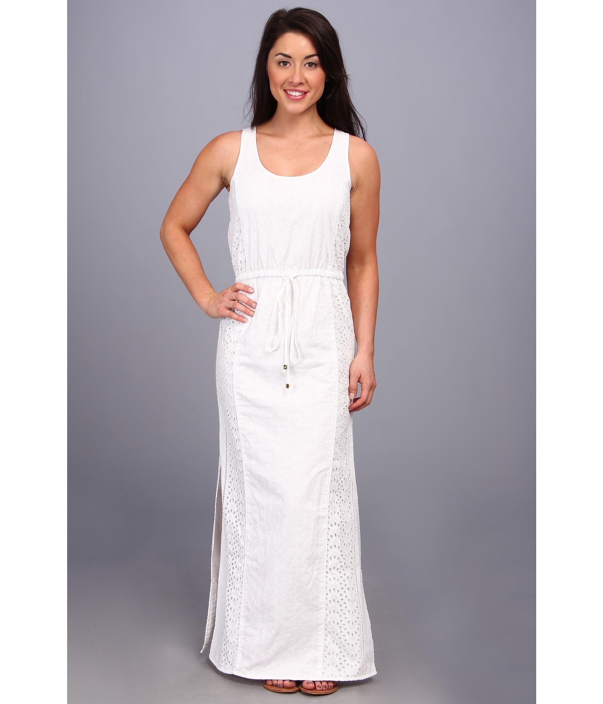 Lyst - Michael Michael Kors Petite Eyelet Sl Maxi Dress in White