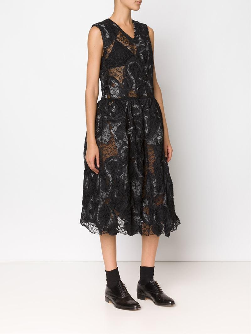 comme des gar ons lace fit and flare dress in black lyst. Black Bedroom Furniture Sets. Home Design Ideas