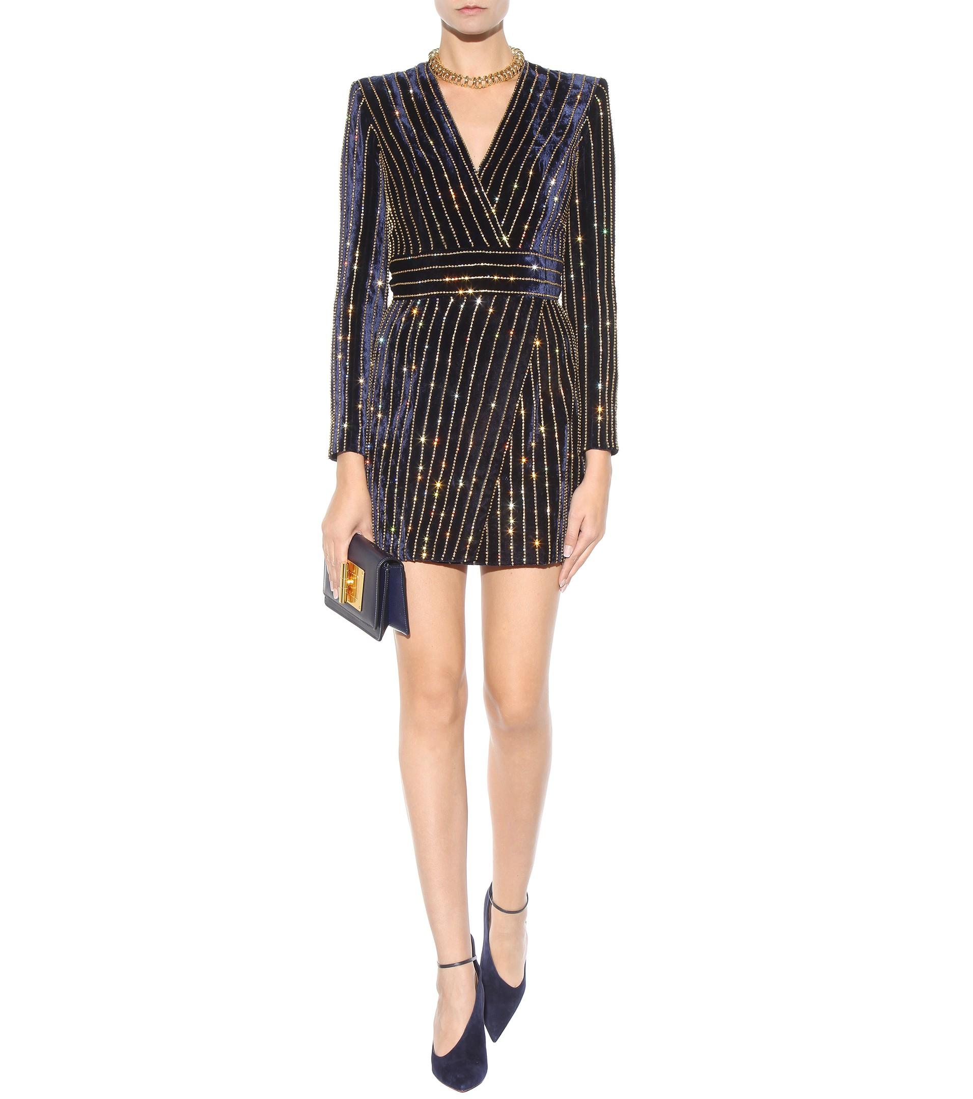 Crystal-embellished Georgette Mini Dress - Navy Balmain tqGMBmsa