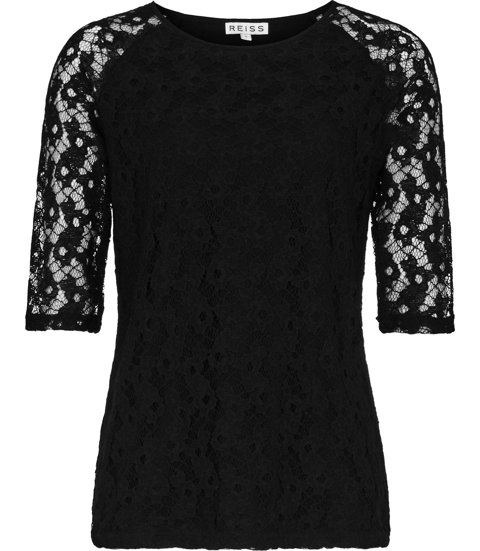 fe50e811b00 Reiss Magnolia Lace T-shirt in Black - Lyst