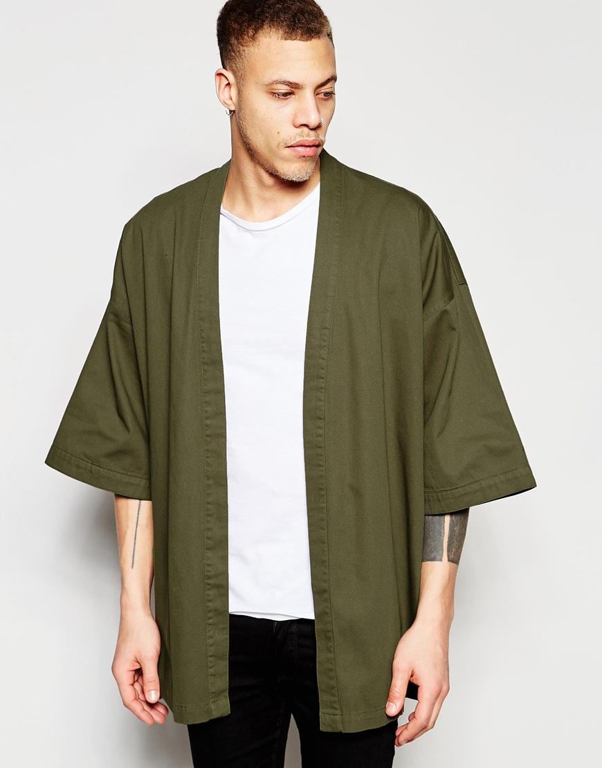 Asos Kimono In Khaki In Natural For Men Lyst