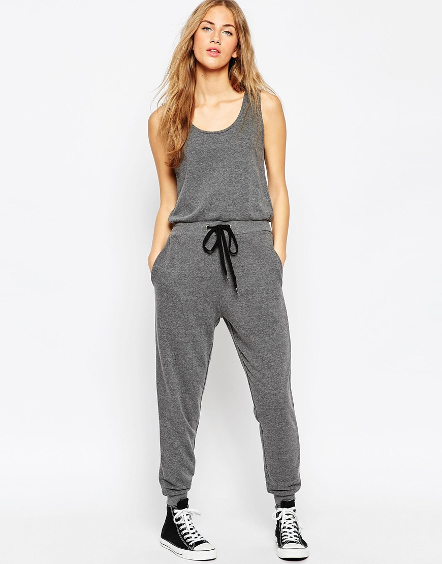 f15a5736c044 Lyst - ASOS Casual Vest Jersey Jumpsuit With Drawstring Waist And ...