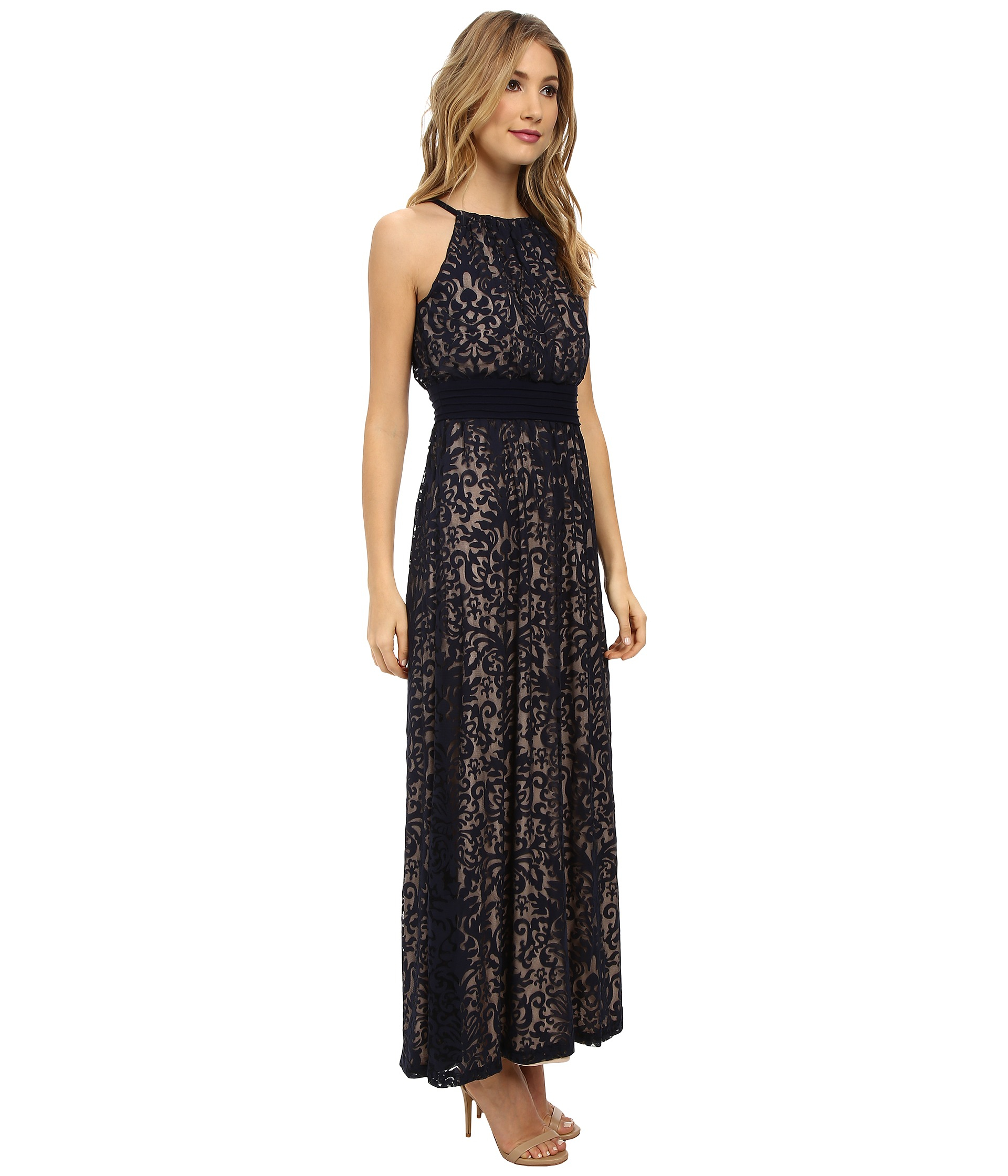 Maggy london Pintuck Drop Waist Maxi Dress in Natural  Lyst