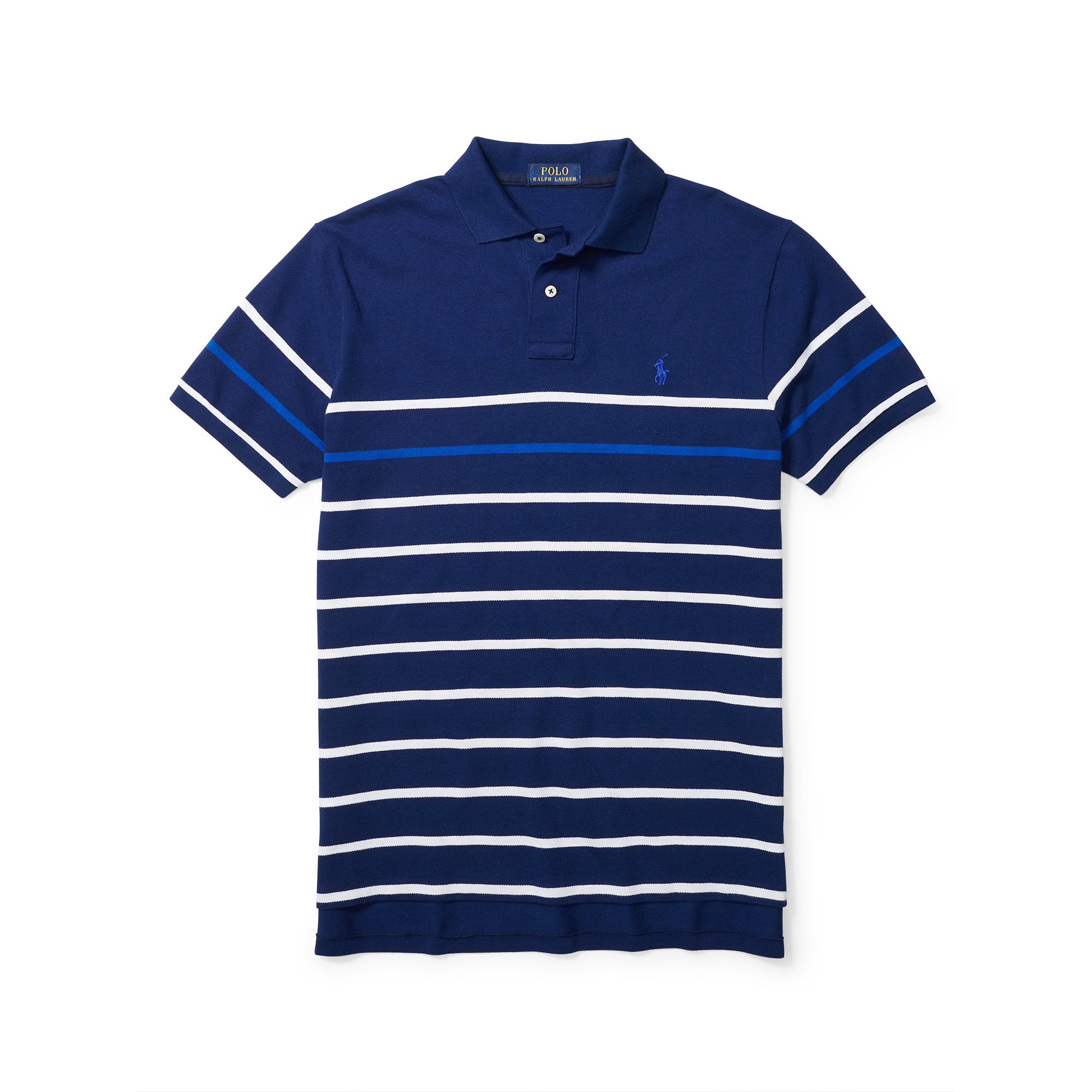 polo ralph lauren custom fit striped polo shirt in blue. Black Bedroom Furniture Sets. Home Design Ideas