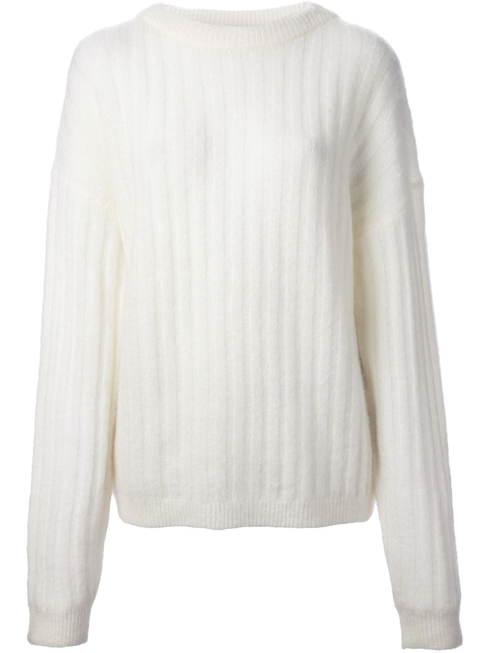 Acne studios Ribbed Sweater in White | Lyst