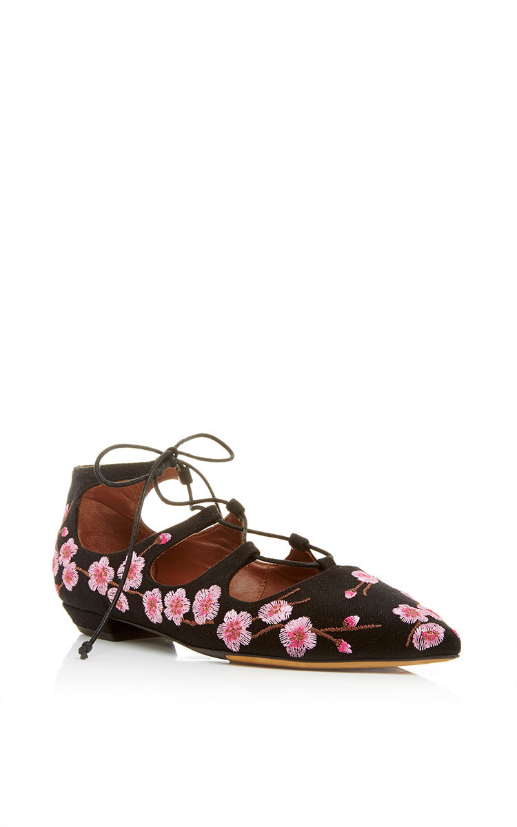 online cheap clearance best Tabitha Simmons Floral Lace-Up Flats clearance wiki outlet factory outlet BmrcWI