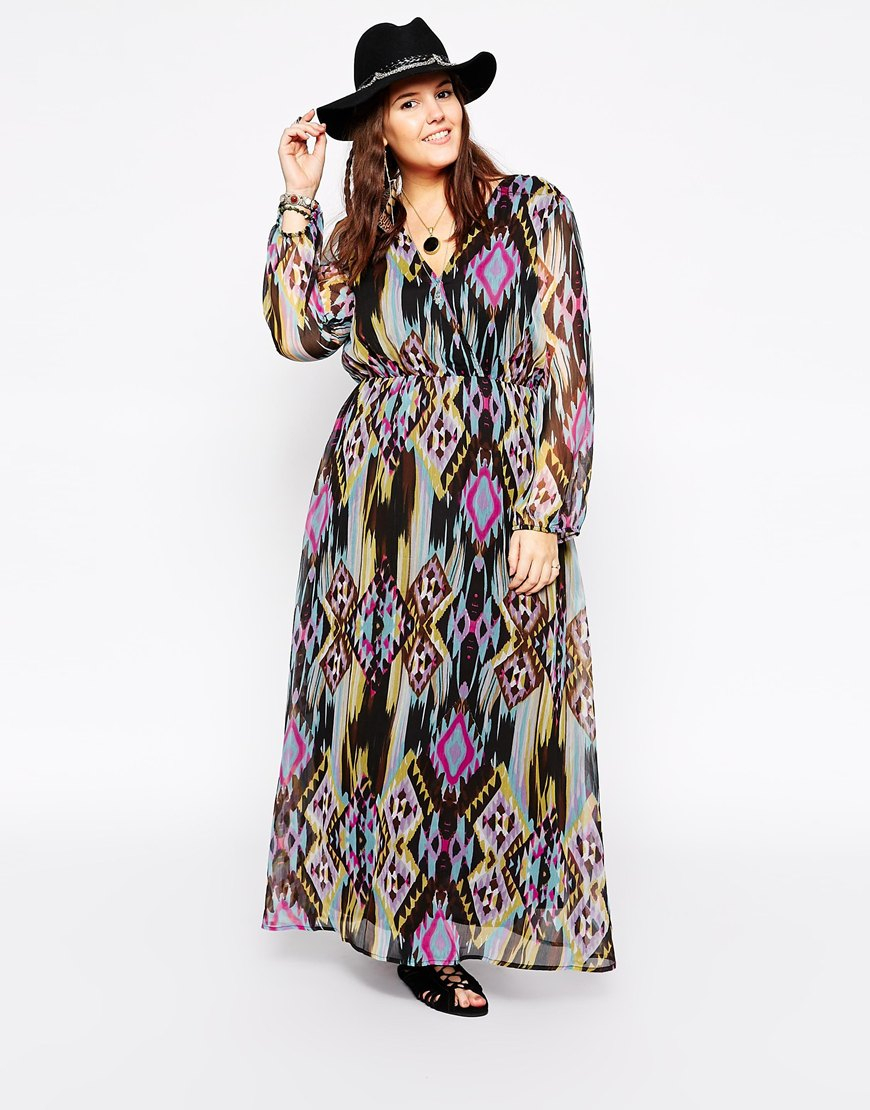 Lyst Diya Plus Size Long Sleeve Printed Maxi Dress