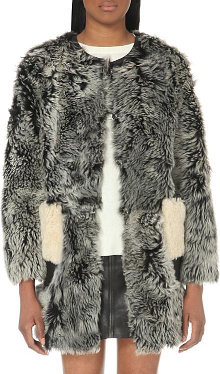 Coach Collarless Shearling Coat, Women's, Size: Xs, Grey in Gray ...