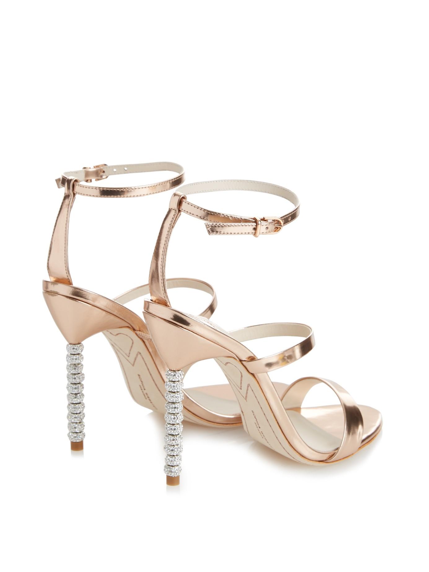 2ba8463dc Lyst - Sophia Webster Rosalind Crystal-Heel Metallic Leather Sandals in  Metallic