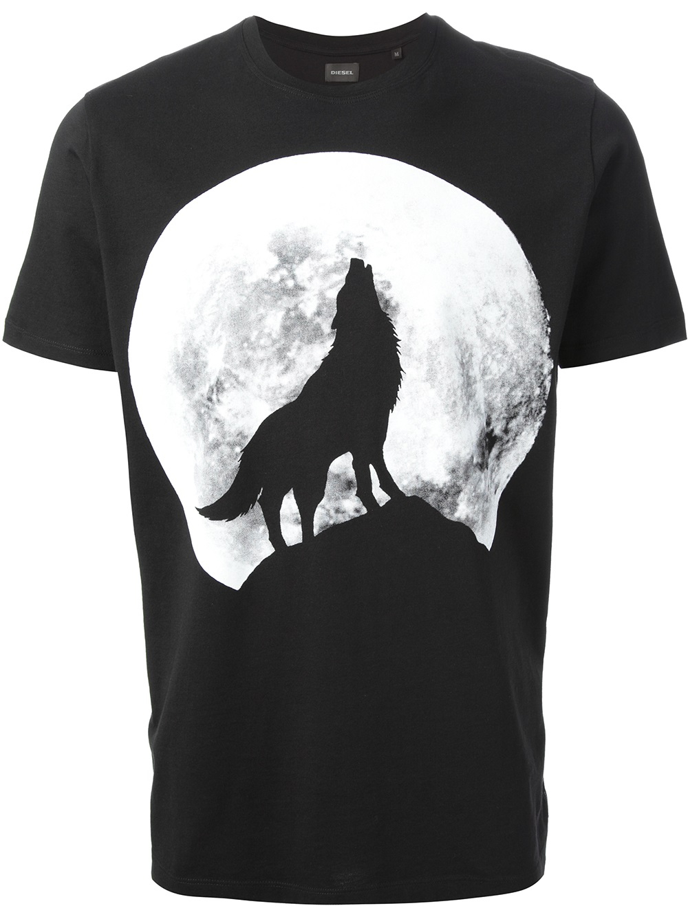 lyst diesel howling wolf print tshirt in black for men. Black Bedroom Furniture Sets. Home Design Ideas