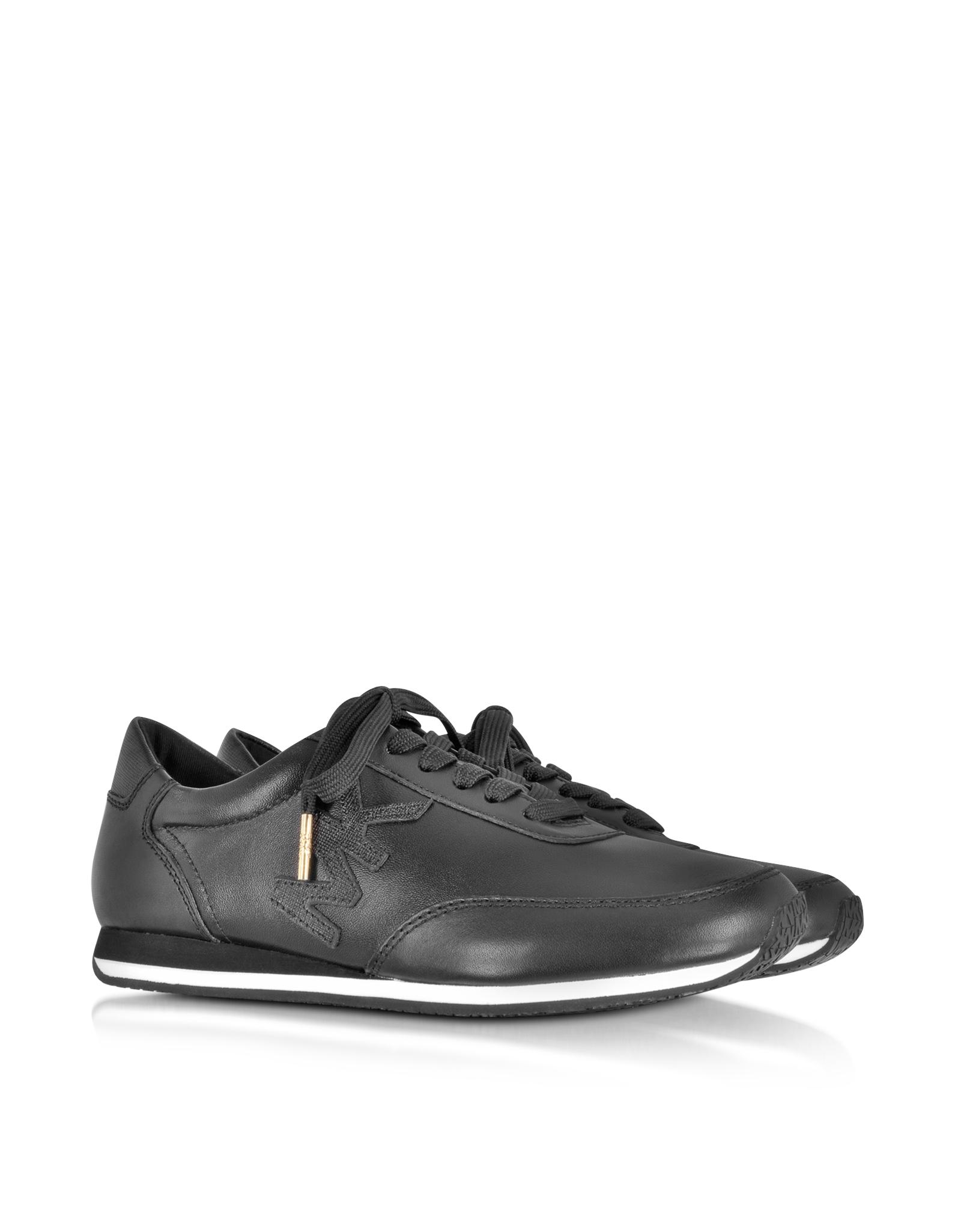 michael kors stanton active black leather sneaker in black lyst. Black Bedroom Furniture Sets. Home Design Ideas