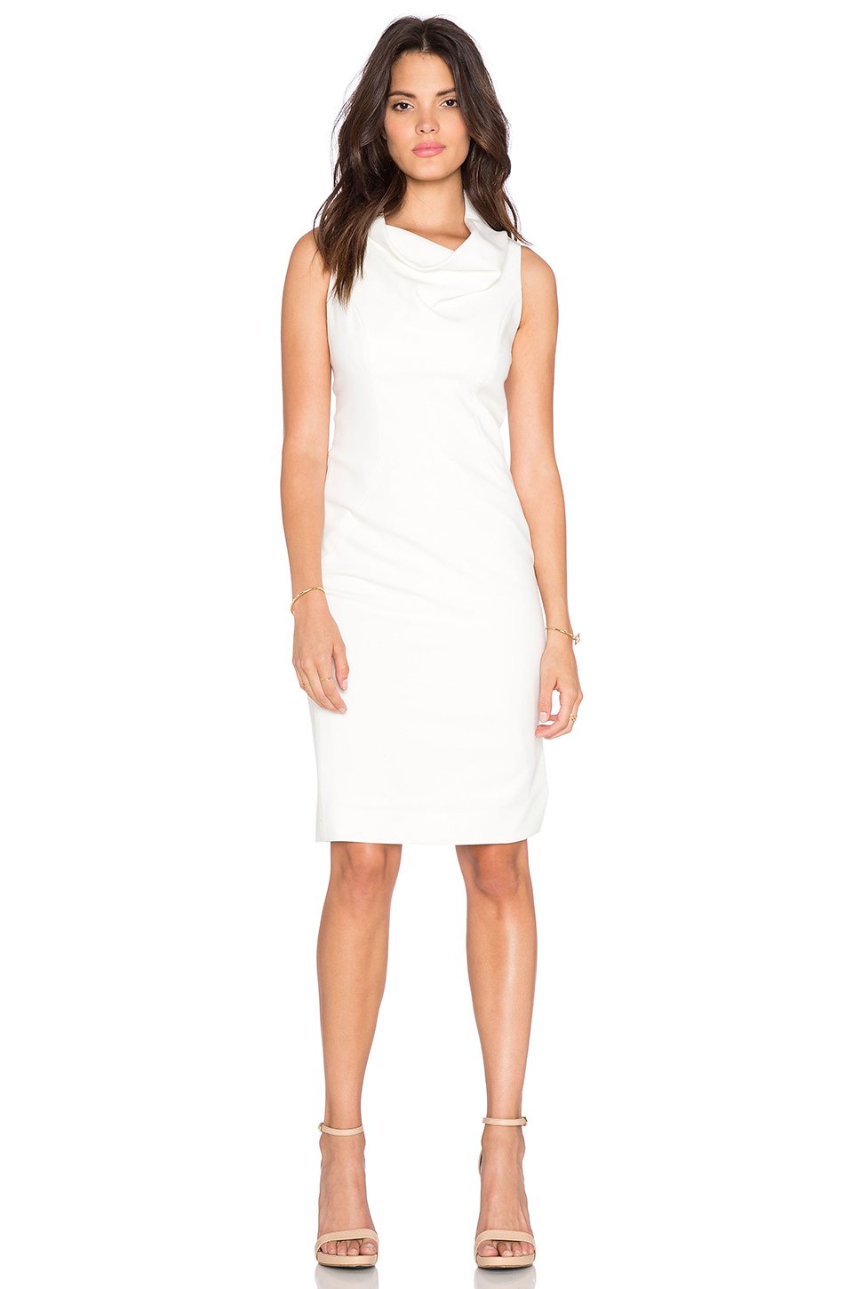 Milly Cowlneck Midi Dress in White | Lyst