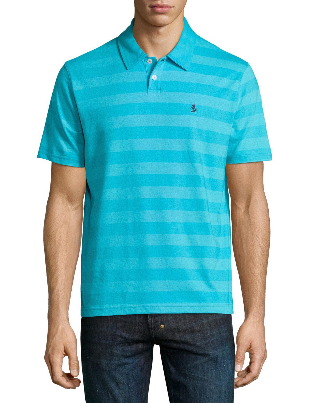 Original penguin wide stripe polo shirt in blue for men lyst for Golf shirt with penguin logo